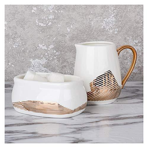caihuashopping Salsera de Porcelana Juego de azúcar y Crema de Porcelana para café y té Jarra de Crema Multifuncional con Mango/azúcar/Taza de Leche pequeña Borde de Oro Salsera (Style : C)