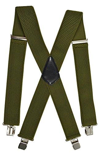 Extra Lange, Extra Breite XXL Hosenträger X-Form mit 4 Starken Clips, Stark Stoff - 5cm. Olivgrün
