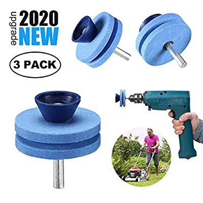 ?2020 NEW?Double Layer Corundum Lawn Mower Blade Sharpener, Universal Wear Lawnmower Blade Sharpener for Any Power Drill/Hand Drill, Double-Layer Grindstones Easy to Use and Not Easy Damage-(3Pack)