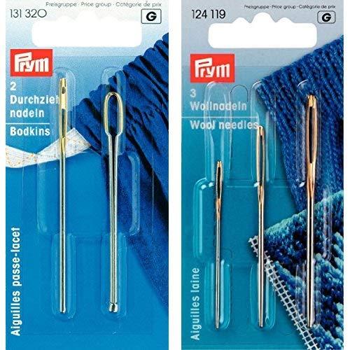 Prym 131320 Durchziehnadeln ST silberfarbig, 2 Formen, 2 Stück, VE 5 & 124119 Woll-und Smyrna-Nadeln ohne Spitze, ST 1+3 silber, 1 Stück
