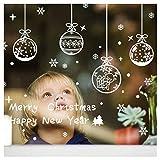 Tuopuda Copos de Nieve y Pelota Decoración Navidad Pegatina Calcomanía de Ventana Vidrio Pared Puerta Vinilos Decorativos Autoadhesivo para Escaparate Tienda Hogar Moderno (pelota)