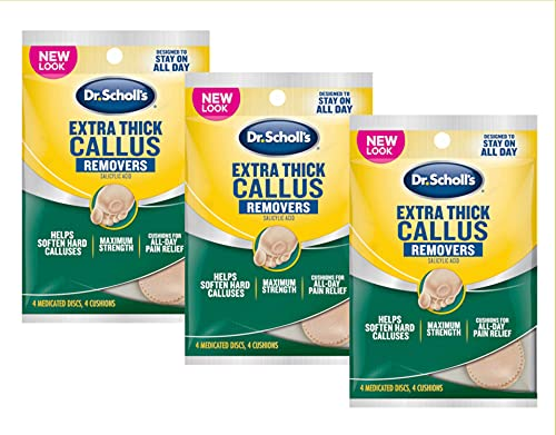Dr. Scholls Extra Thick Callus Removers 4 Cushions ea.(Packs of 3)