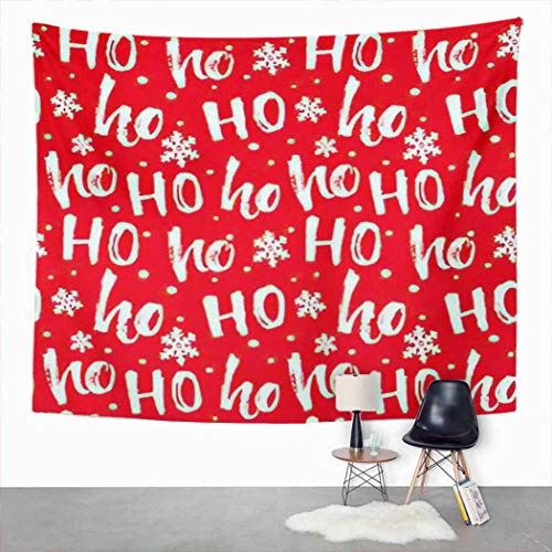 Qamida Christmas Santa Claus Tapestry Hohoho Laugh Texture for Red Words Ho Tapestry for Bedroom Aesthetic Room Decor Wall Hanging Wall Art Picnic Mat Bed Cover 60'x80'