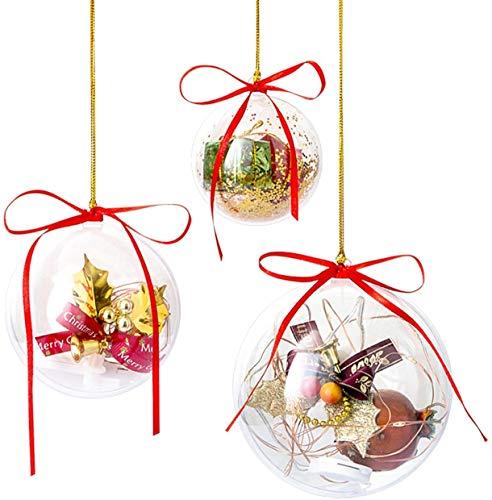 Gwhole Set di 15 Palline di Natale con 15 Corde d'oro e 15 Corde Rosse, 6cm 8cm 10cm Sfera Plastica Trasparenti Palla Palle da Natalizie Albero Apribili Decorative