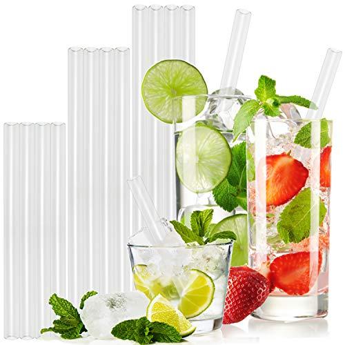T&N - Set di 12 cannucce in vetro, lunghezza 15 x 20 x 23 cm, con 2 pennelli, in vetro riutilizzabile, ecologico, senza BPA, per smoothie e cocktail