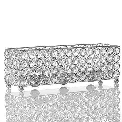 VINCIGANT Portavelas de Cristal Plateado, Decorativos/Funda de Vela para Centros de Mesa de Decoracion de Comedor
