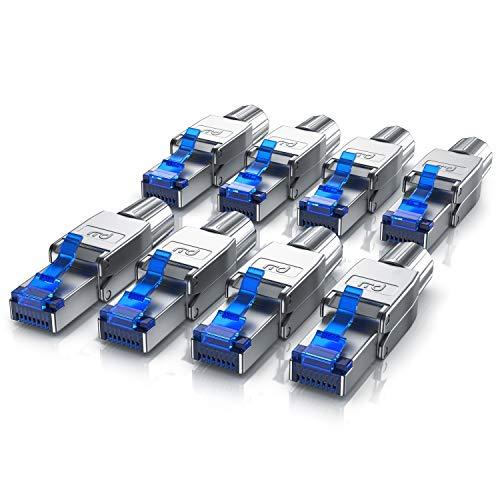 CSL - 8X Netzwerkstecker feldkonfektionierbar RJ45 CAT 6 CAT 7 CAT 8 - geschirmt 40 GBit/s 2000 MHz Ethernet werkzeuglos LAN Kabel - Crimpstecker Steckverbinder für Netzwerkkabel Verlegekabel