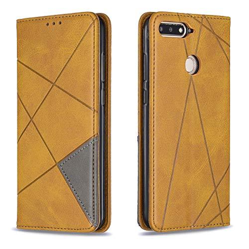 Boloker Funda para Huawei Honor 7A / Y6 2018 [Protector de Pantalla de Vidrio Templado], Retro Suave PU Leather Función de Soporte con Ranura Protección Completo Case (Amarillo)