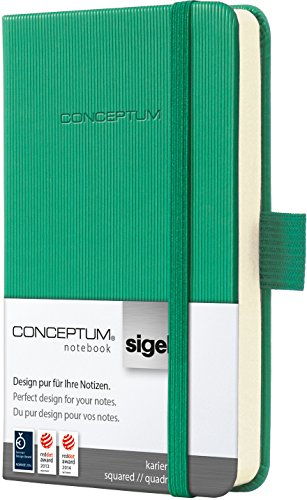 SIGEL CO596 Mini-Notizbuch, ca. A7, kariert, Hardcover, grün, Conceptum - viele Modelle