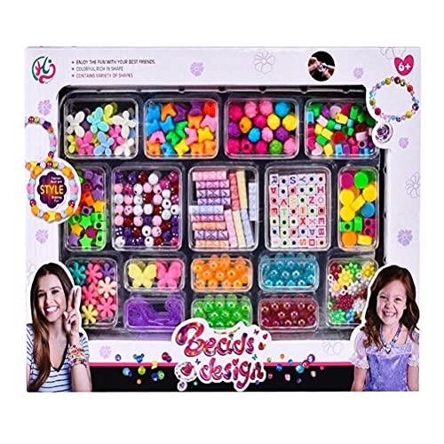 Beads To Thread Kids Alphabet Beads Set DIY Pearly Set Pulseras Collar Juego de Joyas Hágalo Usted Mismo Juguetes para niñas Regalo de cumpleaños para niños