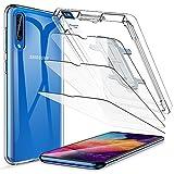 LK Protector de Pantalla para Samsung Galaxy A50 Cristal Templado [3 Pack] + 1*Samsung Galaxy A50 TPU Silicona Funda Transparente + Kit de Instalación Incluido