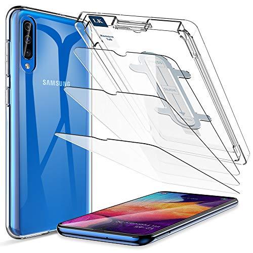 LK Compatible con Samsung Galaxy A50 Protector,3 Pack Protector de Pantalla y 1 Pack Silicona Funda Transparente TPU, Equipado con Marco de Posicionamiento
