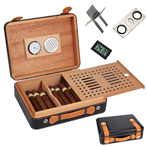 COMMODA Portable Genuine Leather Outdoor Cedar Cigar Travel Case Cedar Humidor Cutter Stand Set Wooden Box,Free Digital Humidity Thermometer Cutter Stand