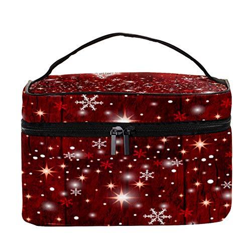 Neceser de Maquillaje Estuche Escolar para Cosméticos Bolsa de Aseo Grande Árbol de Navidad Rojo