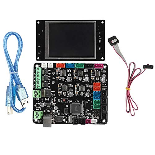 QuRRong Carte mère d'imprimante 3D Imprimante 3D V1.6 + Carte mère avec MKS TFT32 écran LCD Mega2560 Ramps1.4 pour la Connexion et Le Fonctionnement (Color : Black, Size : One Size)