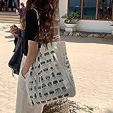 WXXT Bolsa Algodon,Bolsos Grande Tote para Mujer,Bolsas de la Compra Reutilizables,Bolsas de Lona algodón con Cremallera,Regalo Tote Bag,Bolsa de Playa,Alta Capacidad