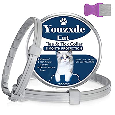 2 Pack Flea and Tick Collar for Cats,8-Month Tick and Flea Control for Cats,Adjustable Design-One Size Fits All,Safe & Allergy Free, Waterproof, with Flea Comb