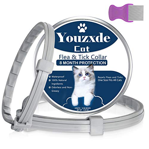 Flea and Tick Collar for Cats,8-Month Tick and Flea Control for Cats,Adjustable Design-One Size Fits All,Safe & Allergy Free, Waterproof, with Flea Comb,2 Pack