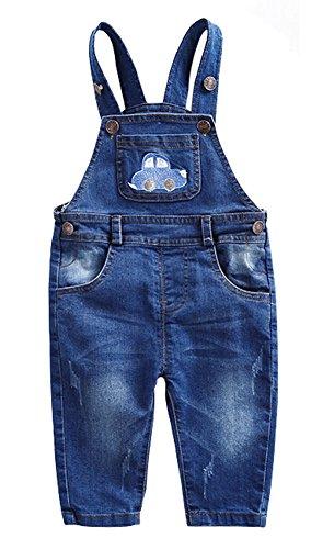 CYSTYLE Latzhose Baby Kleinkind Jungen Jeanshose Baumwolle Tasche Jeans Hosen mit Auto Drucken (66/Körpergröße 60-64cm)