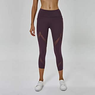 Mesh Yarn Stitching Yoga Cropped Pants Women's Hip Shaping Sports Fitness Tights,Purple(6)