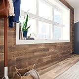 Stikwood Hazelnut Reclaimed Heartwood | Deep to Mid Reclaimed Pine - 20 Sq' Pack | Premium 5' Width Pure Wood Planks | Peel & Stick Barn Wood, Brown, RCTHN