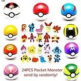 qwaszx 9 piezas Pokémon Ball 7 cm+24 figuras se asignan aleatoriamente.