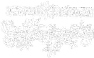 BESTOYARD Liga Vintage Punta elástica Suave Novia Dama de Honor Elegante Boda Accesorios 2Pieza (Color Blanco)