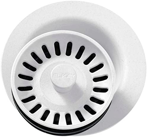 Elkay LKQD35WH Polymer Disposer Flange with Removable Basket Strainer and Rubber Stopper White product image