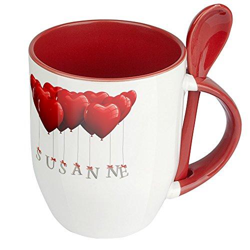 Namenstasse Susanne - Löffel-Tasse mit Namens-Motiv Herzballons - Becher, Kaffeetasse, Kaffeebecher, Mug - Rot