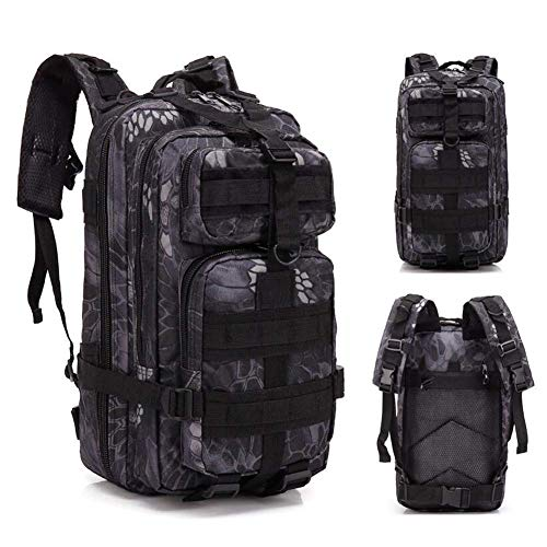 SHRAY 20-35L Tactical Backpack Assault Package Camouflage Backpack 3P Backpack Waterproof Backpack Riding Motion Outdoor Multifunction Pythonblack