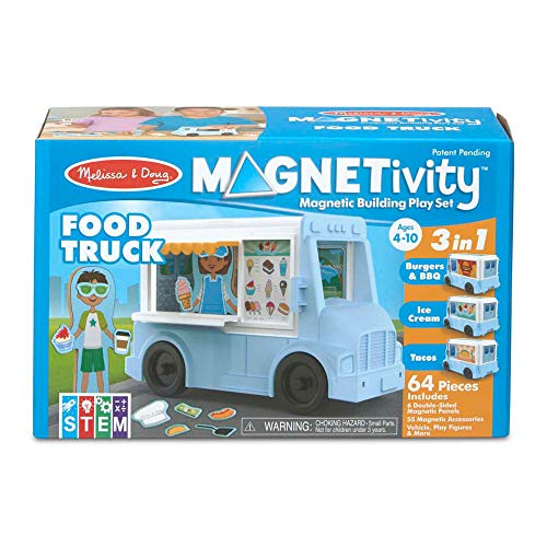 Melissa & Doug Magnetivity Magnetic Tiles Building Play Set – Food Truck