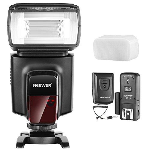 Neewer TT560 Flash Speedlite con CT-16 Kit de Disparador Inalámbrico para Canon, Nikon, Panasonic, Olympus, Pentax y otras Cámaras Réflex Digitales, Duro Difusor Incluido