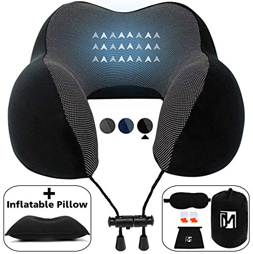 JinaMart Black Luxury Neck Pillow for Airplane Travel Memory Foam + Inflatable Travel Pillow Eye Mask + 2 Earplugs Travel Accessories kit Travel Neck Support Pillow Car Sleeping Travel Pillow Rest