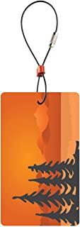 Lewis N. Clark Travel Green Luggage Tag, Trees, Orange