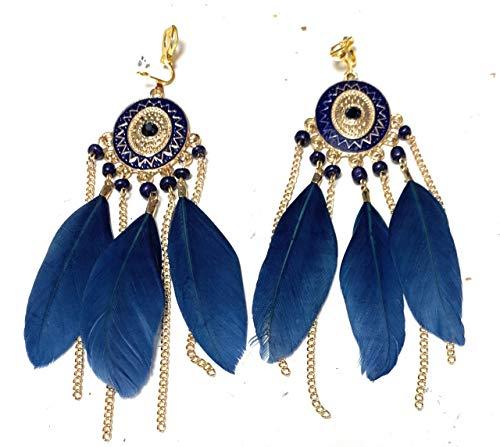 Pendientes de araña de plumas de color azul marino con cierre de clip y borla tribal