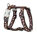 Red Dingo Desinger - Pettorina per cani, motivo pois rosa su marrone, 15 mm x collo: 30-48 cm, corpo 36-54 cm, taglia S
