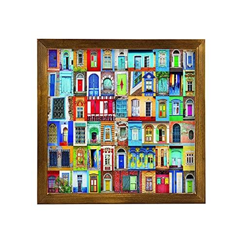 Letrero de madera rústica con marco de madera para decoración familiar de pared inspiradora placa de madera para decoración del hogar, letrero enmarcado de madera para puertas y ventanas de 30