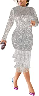 kaimimei Women's Sexy Long Sleeve Sequins Glitter Bodycon Midi Dress Tassel Hem Tunic Party Club Dress