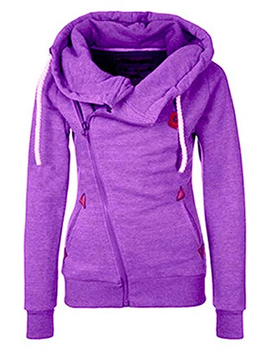 ROSEUNION Damen Hoodie Reißverschluss Langärmelige Kapuzenpullover Sweatshirt Sweatjacke Kapuzenjacke Frühling Herbst Sweatshirt Oberteil Pullover (Lila, EU 44)