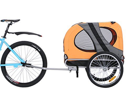 Leonpets Haustier Fahrradanhänger Hundewagen Transporter mit Universalkupplung Orange NEU 10117