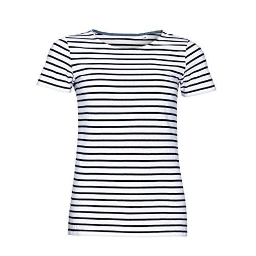 Sols Damen Miles T-Shirt, gestreift, kurzärmlig (M) (Weiß/Marineblau)