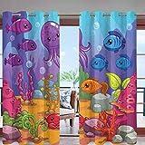 Hiiiman - Cortinas opacas para exteriores con ojales en la parte superior del acuario subacuario con diseño de pulpo con aislamiento térmico para patio o patio