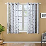 Top Finel Grey Short Sheer Curtains 45 Inch Length Embroidered Diamond Grommet Window Curtains for Living Room Bedroom, 2 Panels