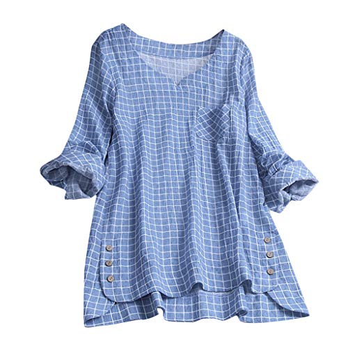 Lazzboy Frauen Lose V-Ausschnitt Leinen Solid Button Sleeveless Freizeithemd Bluse Tops Damenhemden Rüschen Lässige Tunika Einfarbig Damen Kariert Reißverschluss Hemd T-Shirt(Blau,2XL)