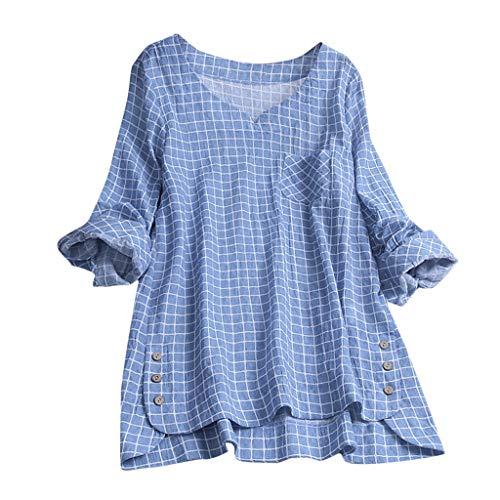 Playera casual holgada de algodón con cuello en V y manga larga para mujer, de gran tamaño,  Azul, XXXL