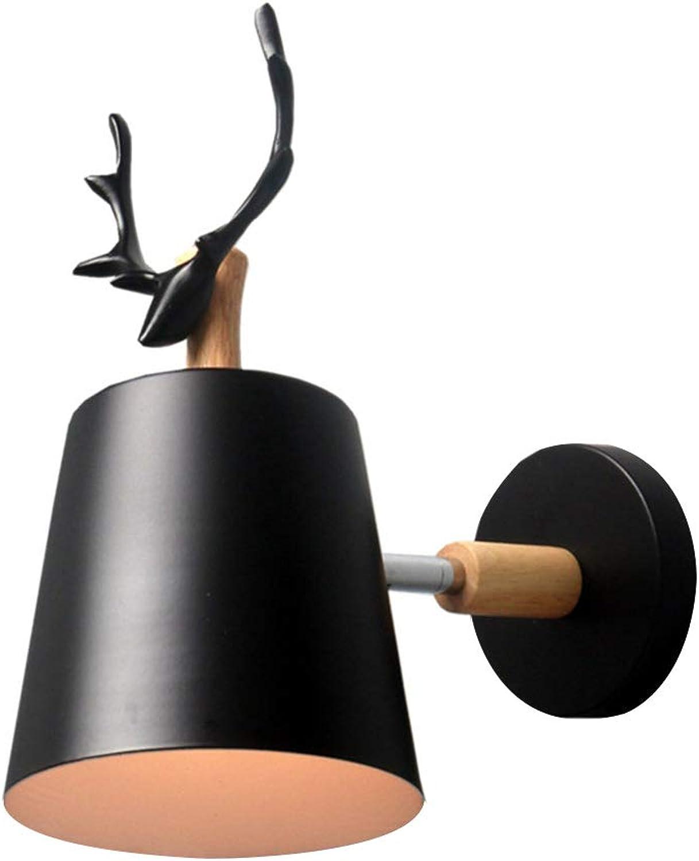 Verstellbare Wandleuchten aus Eisen Kreativ Wandleuchte Moderne Wandlampe Kerze Eisen E27 Base Hirschkopf Stil Deco für Schlafzimmer Wohnzimmer Kinderzimmer Restaurant Flur 145 ° Drehbar,schwarz