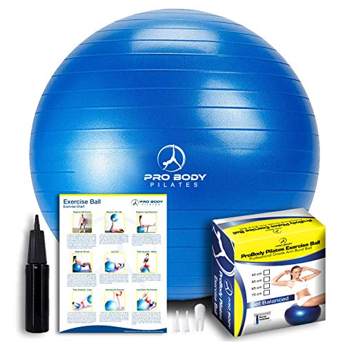 ProBody Pilates Exercise Ball - Professional Grade Anti-Burst Fitness, Balance Ball for Yoga, Birthing, Stability Gym Workout Training and Physical Therapy - Work Out Guide Included (Blue, 45 cm)