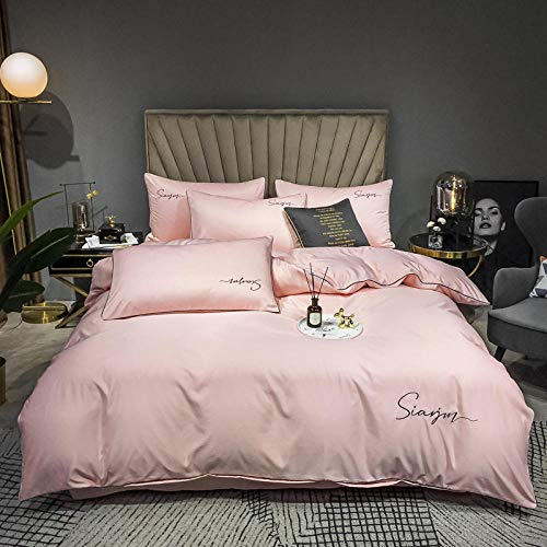 geek cook Homehold Sheets Set,European embroidered washed silk embroidered four-piece set cotton solid color bed linen home textile-Rose pink_220*240