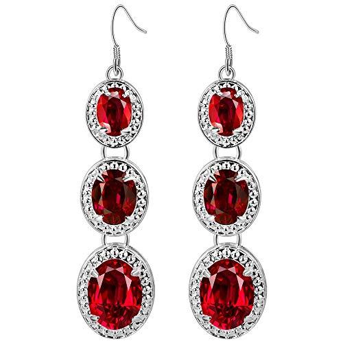 Purmy Mujeres Pendientes de Gota Plateado Aretes con Rojo Cubic Zirconia Tres Oval Colgante Modelo Elegante Estilo Rojo 16X70MM