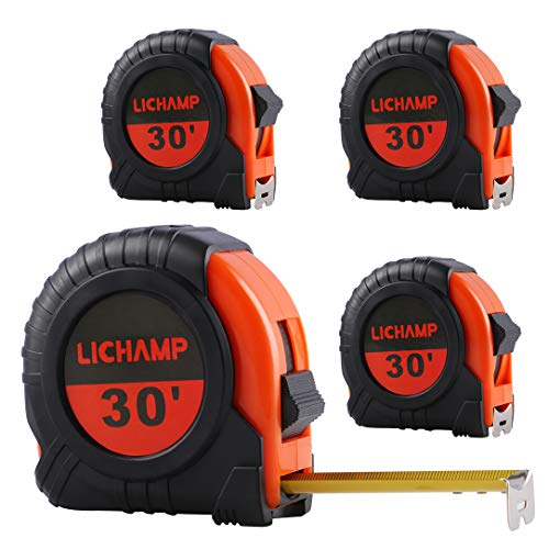 LICHAMP Tape Measure 30-Foot, 4 Pack Bulk Easy Read Measuring Tape Retractable Metric/Fractional, Measurement Tape 29.5FT/9M by 1-Inch